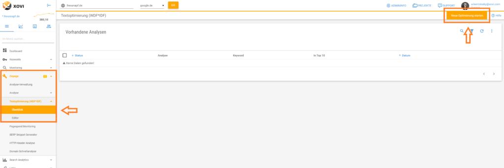 Screenshot der Anlage einer neuen Textoptimierung in XOVI