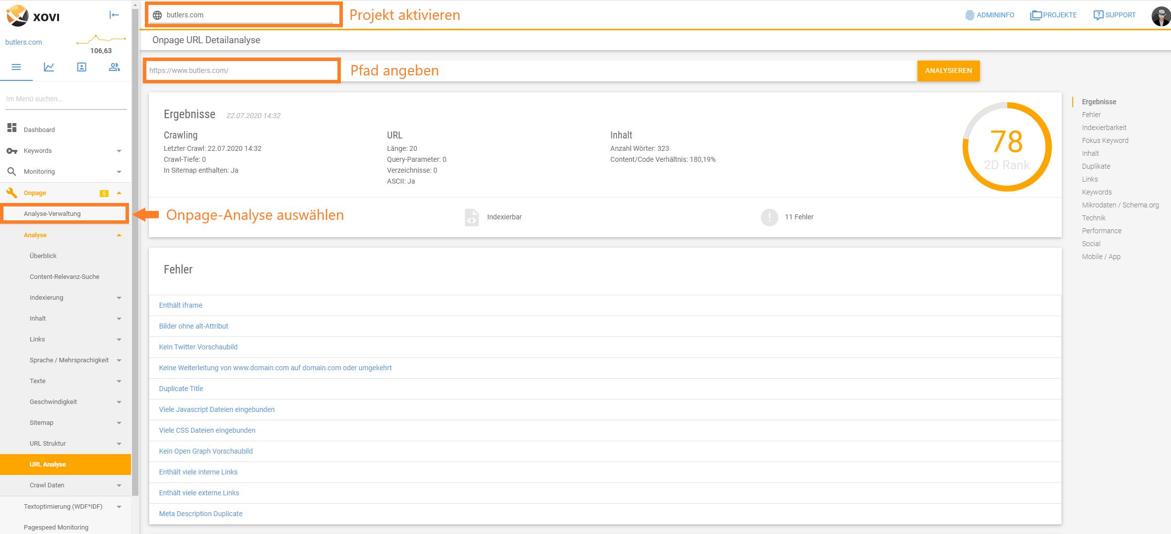 Screenshot der URL Detailanalyse-Maske