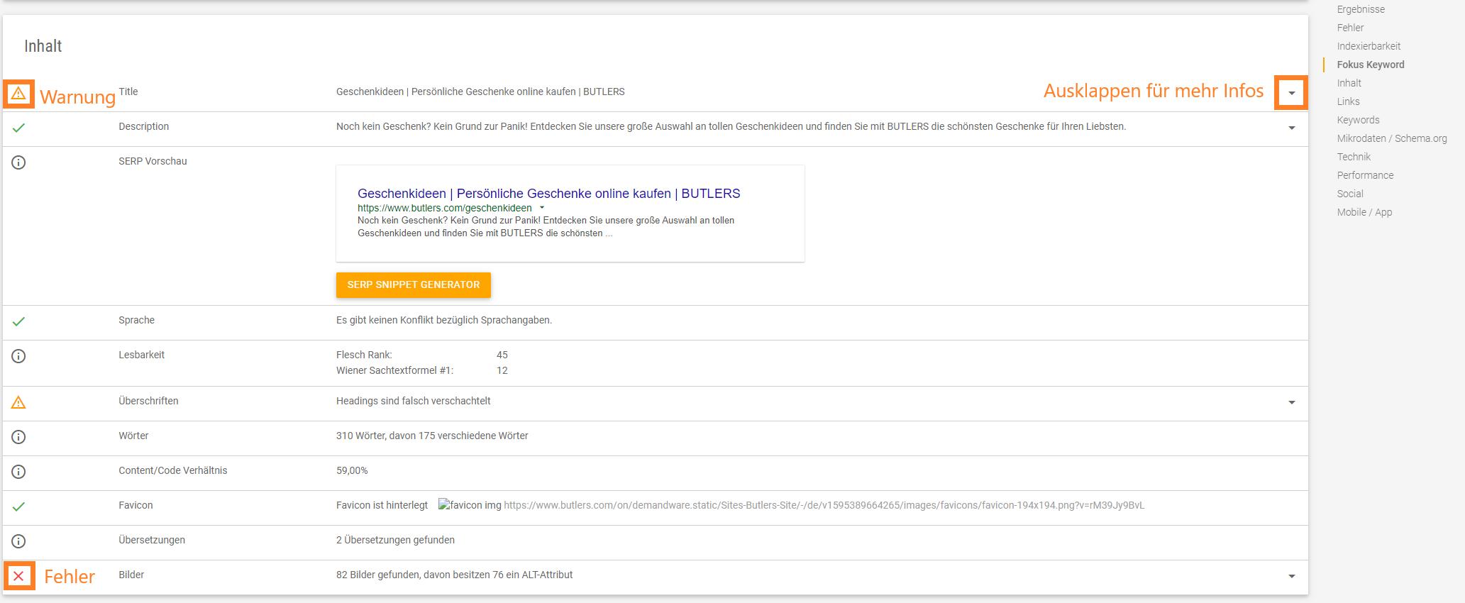 Screenshot des Inhalt-Segments der Ergebnisse der XOVI URL-Detailanalyse