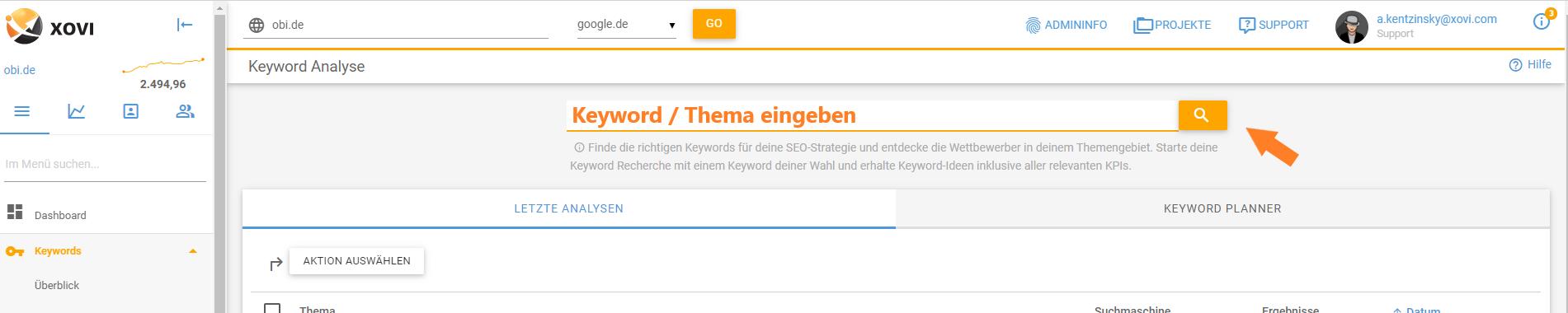 Keyword-Eingabe in der Keyword-Analyse