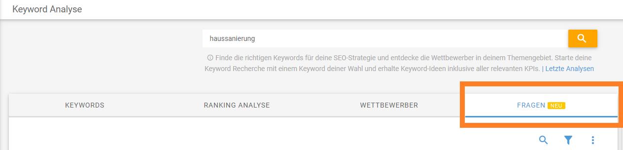 Screenshot Keyword-Analyse