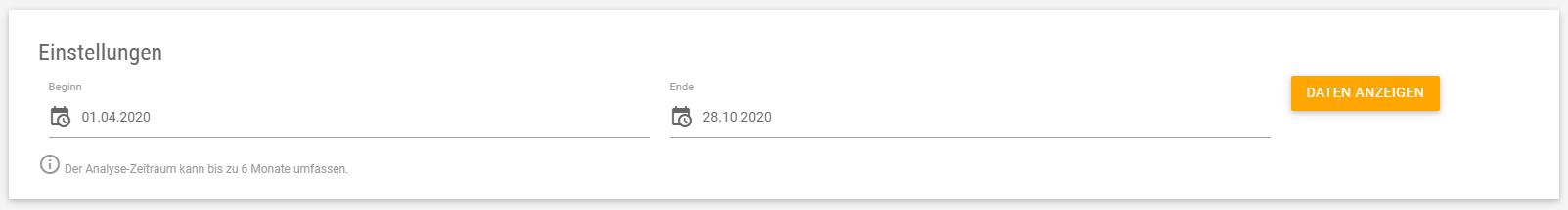 Eingabemaske für den Zeitraum, in dem Google Ads der Konkurrenz analysiert werden sollen.