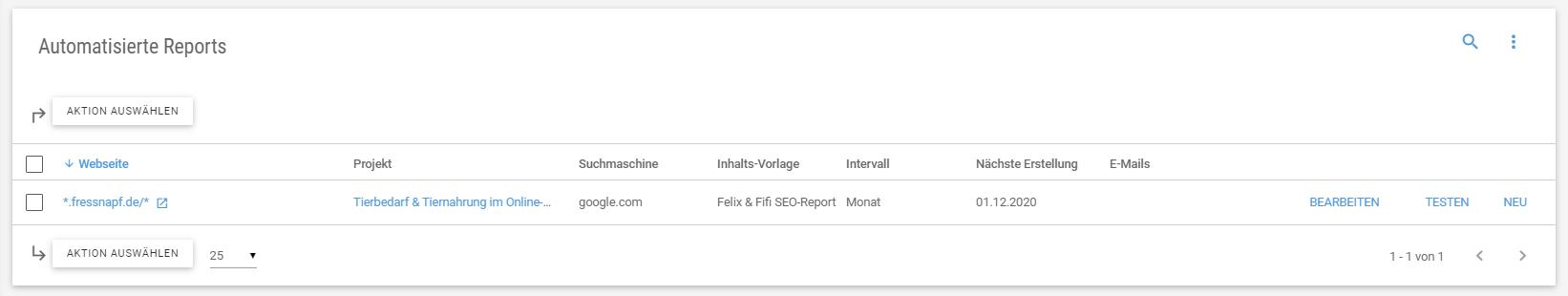 Übersicht aller automatisierten Reports
