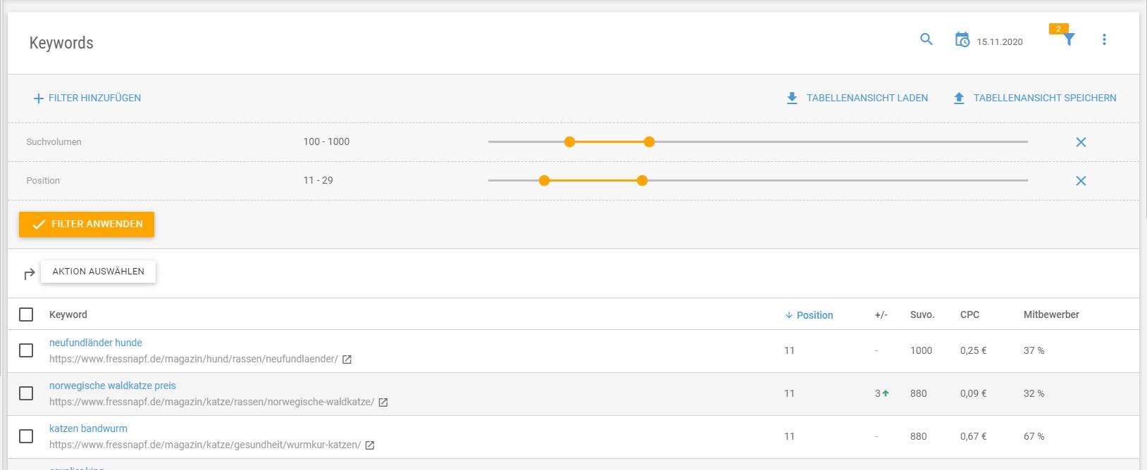 Datensätze filtern und in Reports übernehmen