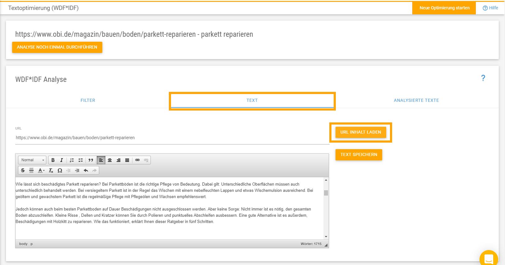 Den Text der zu optimierenden URL in den Textoptimizer laden