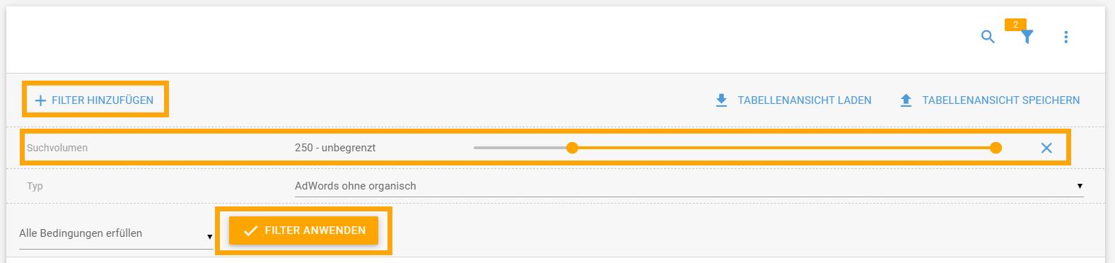 Filtereinstellung für Anzeigen-Keywords ohne organische Rankings