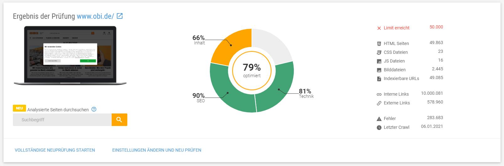 Ergebnis der XOVI Onpage-Analyse von OBI