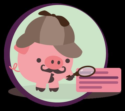 Schweinchen mit Mütze und Lupe, das die SERPs untersucht