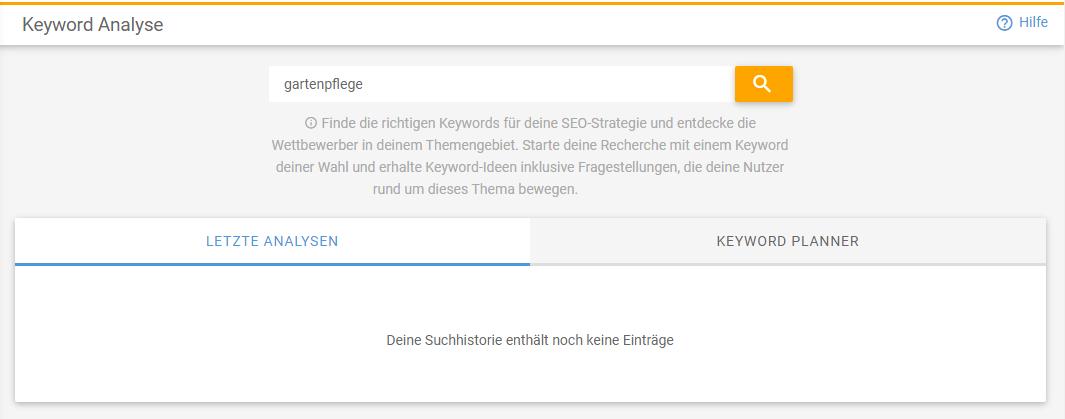 Screenshot der Keyword-Eingabe