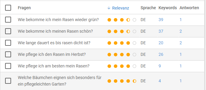 Screenshot des XOVI Fragen-Tools