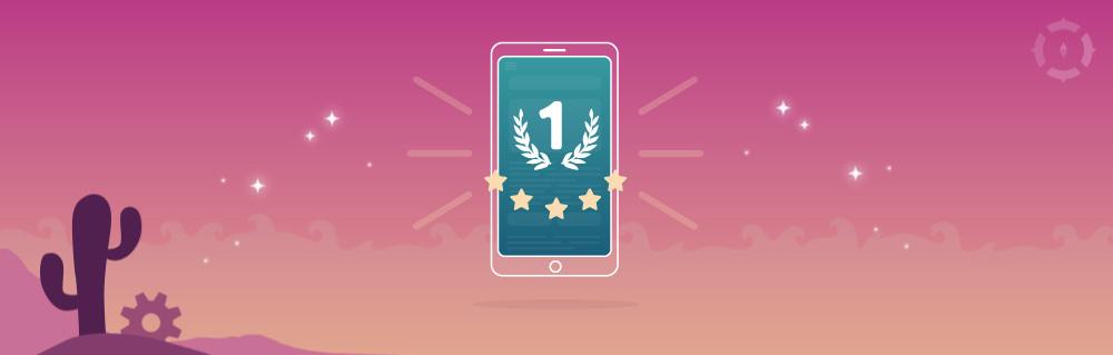Smartphone mit 5 Sternen und erstem Platz