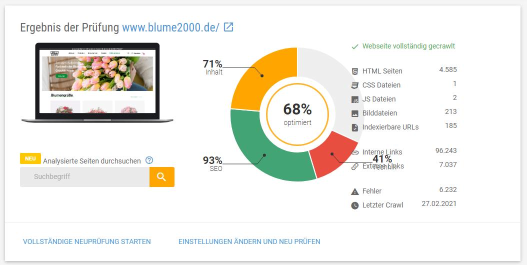 Screenshot der Ergebnisse der XOVI Onpage-Analyse der Domain blume2000.de