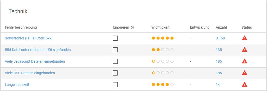 Screenshot der technischen Onpage-Faktoren in der XOVI Suite