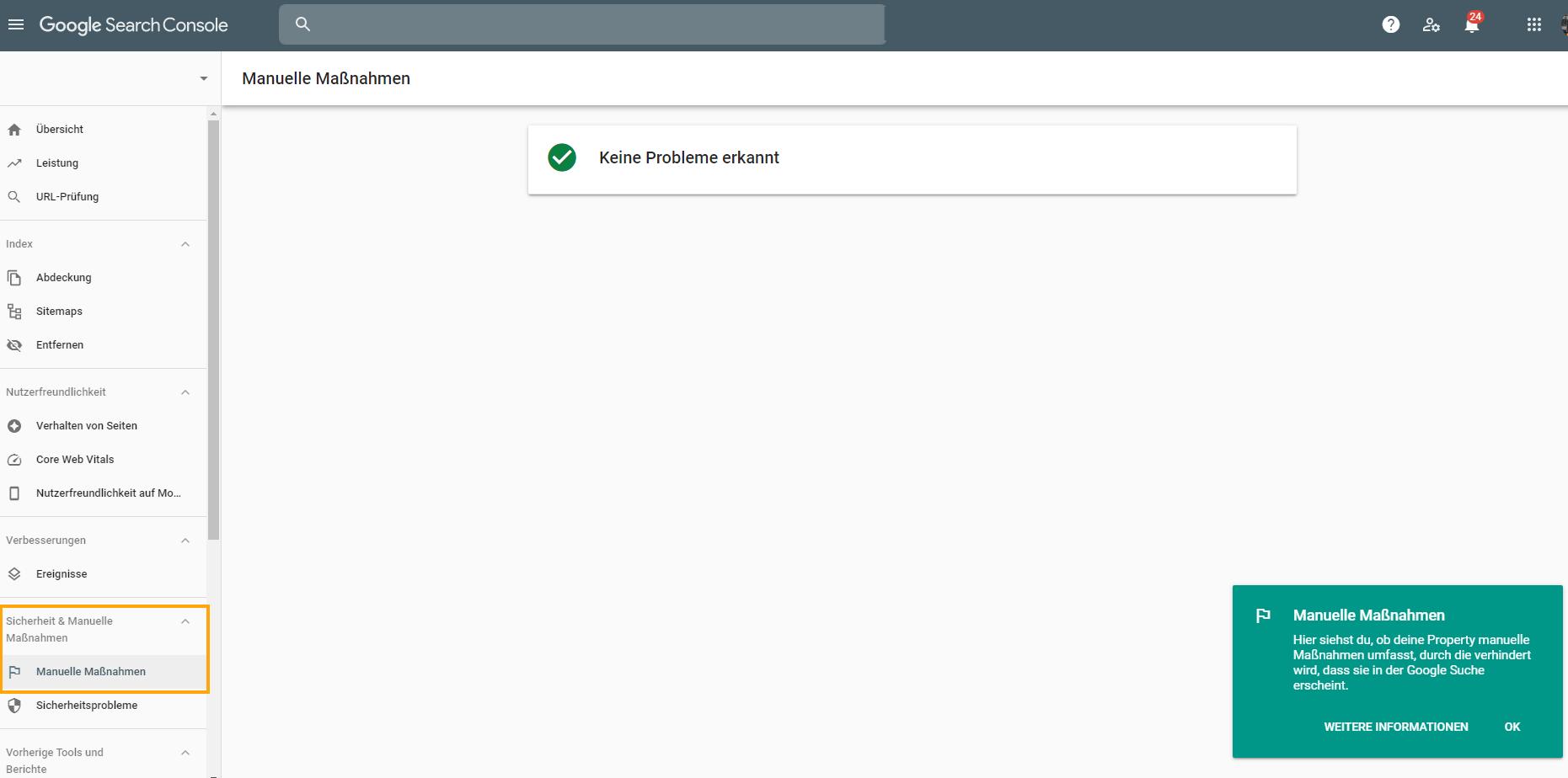 Screenshot der Google Search Console des Bereichs Manuelle Maßnahmen