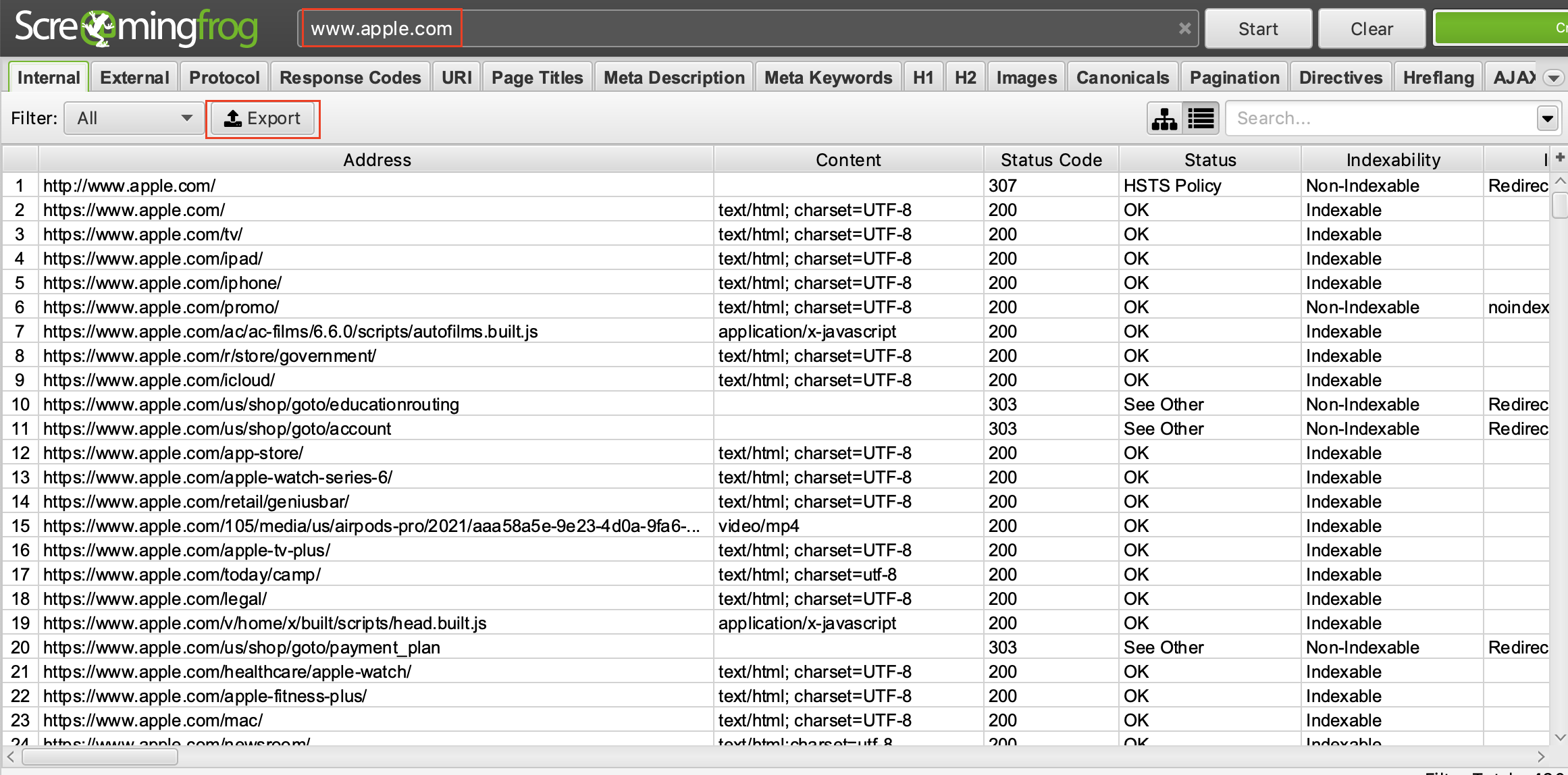 Screenshot eines Content Audits mit ScreamingFrog