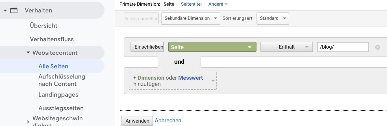 Screenshot der Google Analytics-Einstellung zur Indentifikation von Blog-Traffic