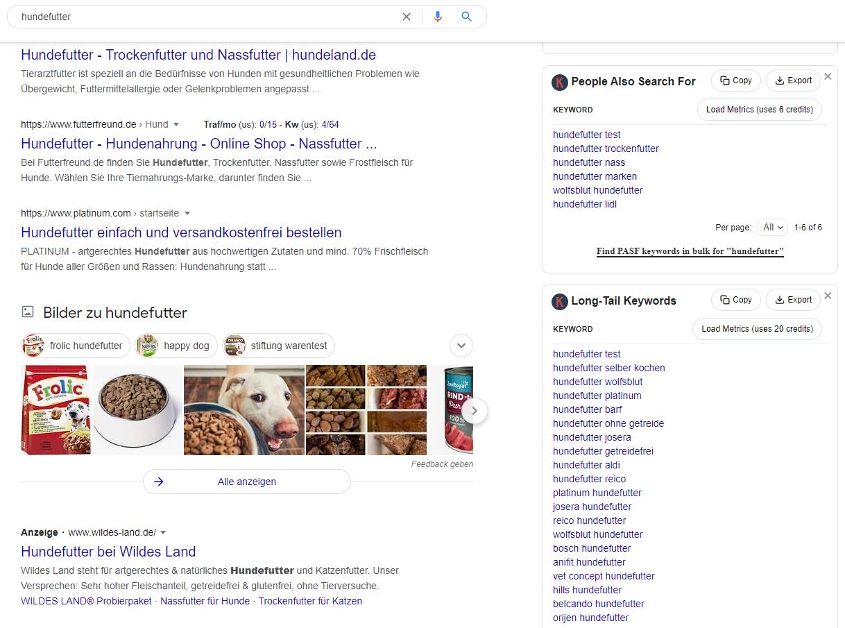 Screenshot der SERPs zum Keyword Hundefutter mit dem Keywords Everywhere Browser-Addon