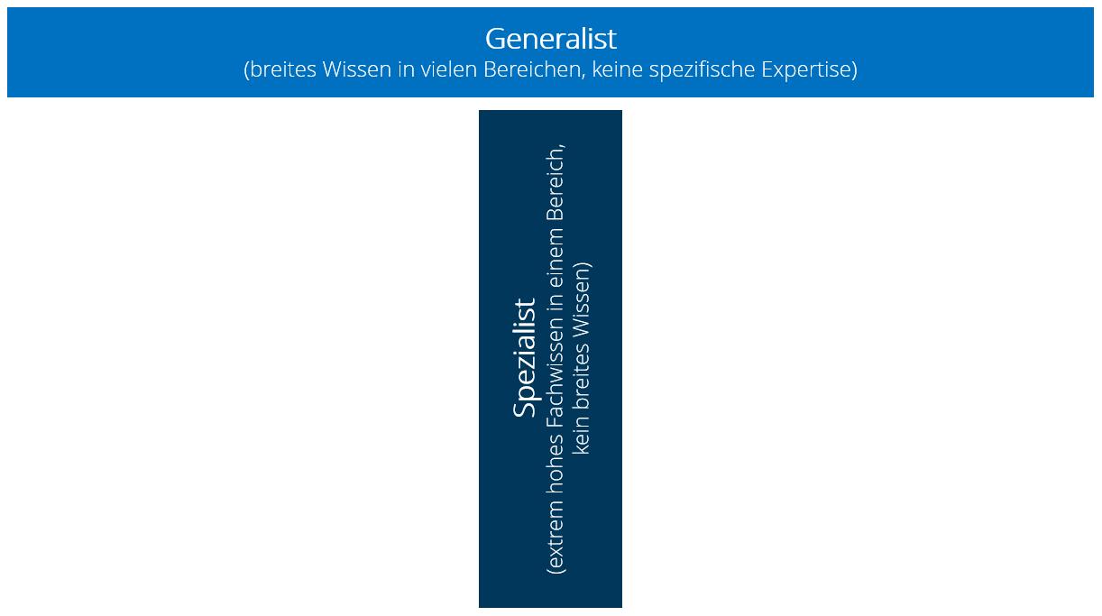Modell in T-Form, Querstrich repräsentiert generelles Wissen, Längsstrich für fachspezifisches Wissen